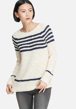 Vero Moda Tinky Stripe Knit Knitwear Cream & Navy