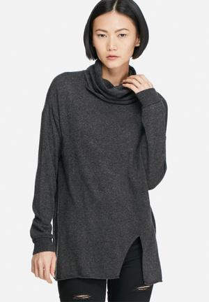 Vero Moda Indi Wool Roll Neck Sweater Knitwear Dark Grey