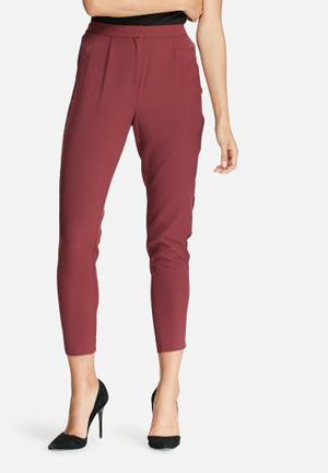 Y.A.S Claddy Brushed Pants Trousers Burgundy