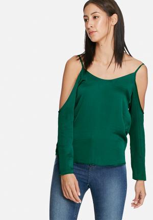 Dailyfriday Satin Cold Shoulder Blouse Green