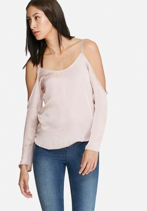Dailyfriday Satin Cold Shoulder Blouse Pink