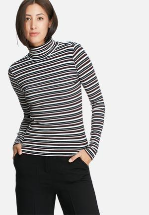 ONLY Striped Turtleneck Top T-Shirts, Vests & Camis White, Black & Maroon