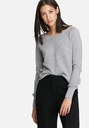 ONLY Viola Boatneck Sweater Knitwear Grey