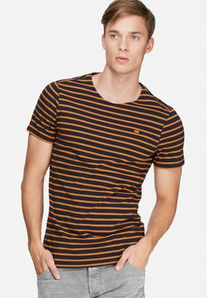 G-Star RAW Xartto Tee T-Shirts & Vests Navy & Orange