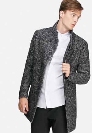 Jack & Jones Premium Gotham Wool Coat Black, Grey & White