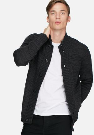 Jack & Jones CORE Kenny Knit Cardigan Knitwear Black Melange