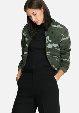 ONLY Smoke Reversible Camo Bomber Jacket Green