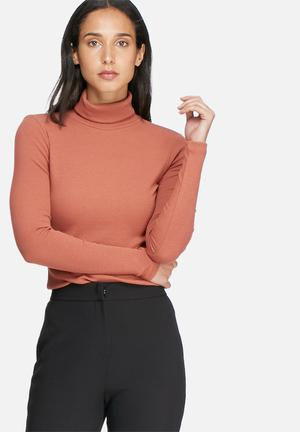 Pieces Ganie Roll Neck Top T-Shirts, Vests & Camis Copper Brown