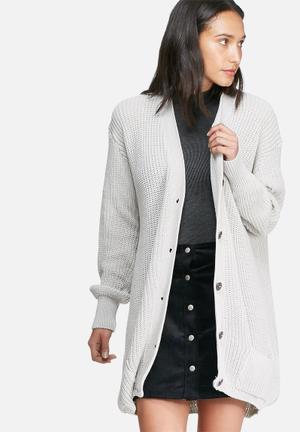 Daisy Street Oversized Boyfriend Cardigan Knitwear Light Grey
