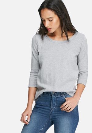 Dailyfriday Dipped Button Back Ballerina Sleeve Knit Knitwear Grey