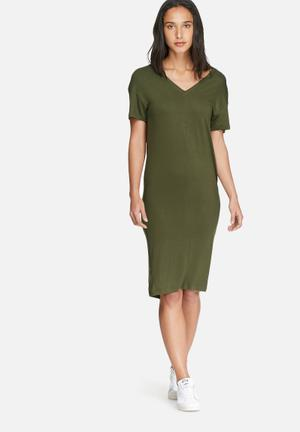 Dailyfriday V-neck Midi Dress With Buttons Casual Khaki