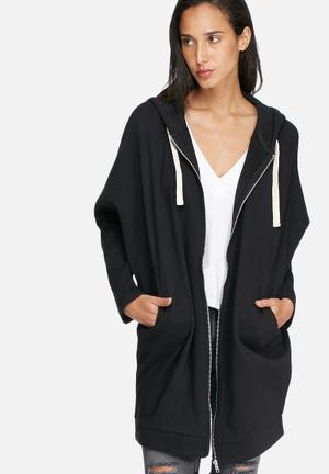 Noisy May Loui Zip Oversize Sweat Hoodies & Jackets Black
