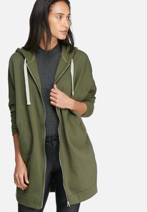 Noisy May Loui Zip Oversize Sweat Hoodies & Jackets Green