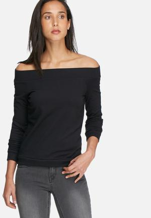 Noisy May Chase Off Shoulder Sweat T-Shirts Black