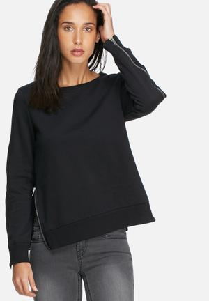 Noisy May Loui Zip Sweat T-Shirts Black
