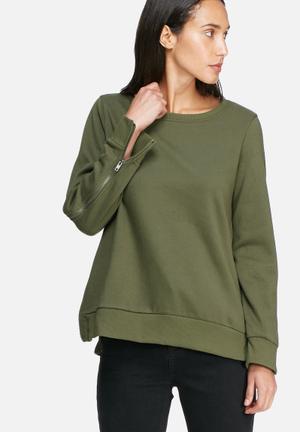 Noisy May Loui Zip Sweat T-Shirts Green