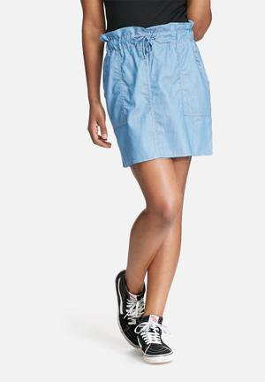 Dailyfriday Short Paper Bag Skirt Blue
