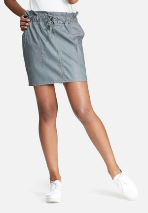 Dailyfriday Short Paper Bag Skirt Grey