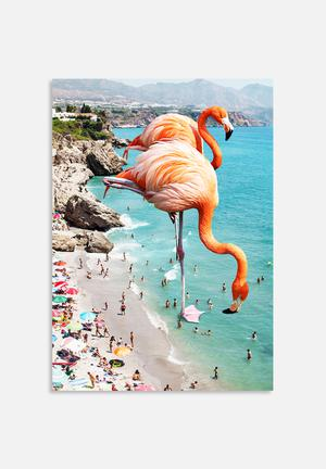 83 Oranges Flamingos On The Beach Art