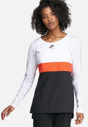 Nike International Long Sleeve Top T-Shirts White, Black & Orange