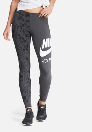 Nike International Printed Leggings Bottoms Grey & Black
