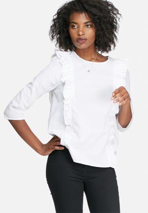 Vero Moda Blis Ruffle Top Blouses White