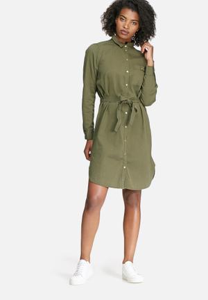 Vero Moda Penny Shirt Dress Casual Khaki