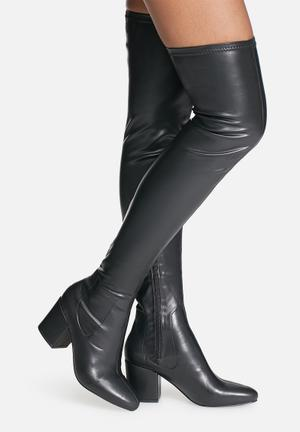 Daisy Street Quatro Over The Knee Boot Black