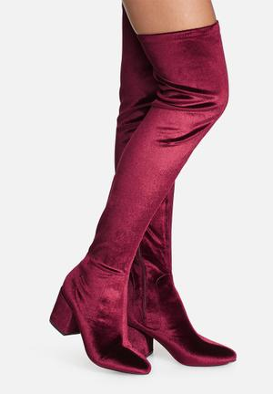 Daisy Street Penny Velvet Over The Knee Boots Burgundy