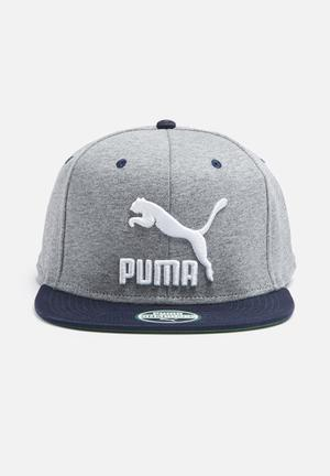 PUMA Colourblock Snapback Headwear Grey, Navy & White