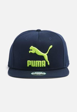 PUMA Ls Colourblock Snapback Headwear Navy & Neon Yellow