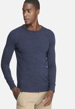 Basicthread Basic Crew Neck Pullover Knitwear Blue
