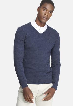 Basicthread Basic V-neck Pullover Knitwear Blue