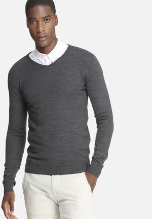 Basicthread Basic V-neck Pullover Knitwear Charocoal
