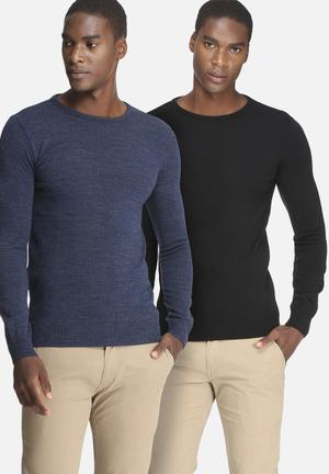 Basicthread 2 Pack Basic Crew Neck Pullover Knitwear Black & Blue
