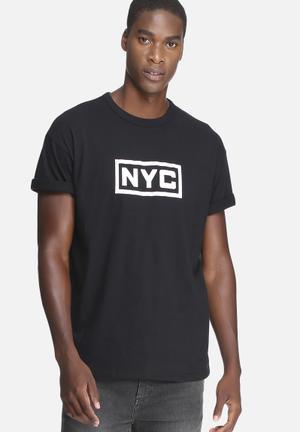 Basicthread Graphic Oversized Boxy Tee T-Shirts & Vests Black & White
