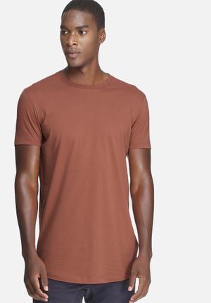 Basicthread Curved Hem Longline Tee T-Shirts & Vests Brown