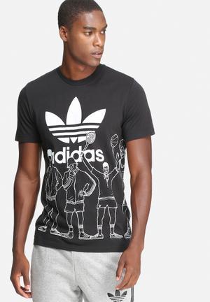 Adidas Originals Block-party Trefoil Tee T-Shirts Black & White