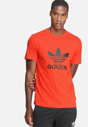 Adidas Originals Trefoil Tee T-Shirts Orange & Black