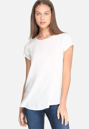 Dailyfriday Short Sleeve Woven Top Blouses White
