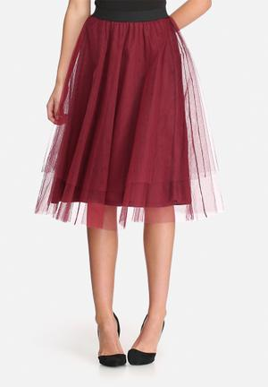Dailyfriday Tuille Midi Skirt Burgundy
