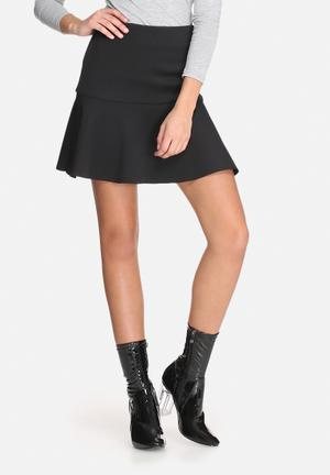 Dailyfriday Dropped Waist Scuba Mini Skirt Black