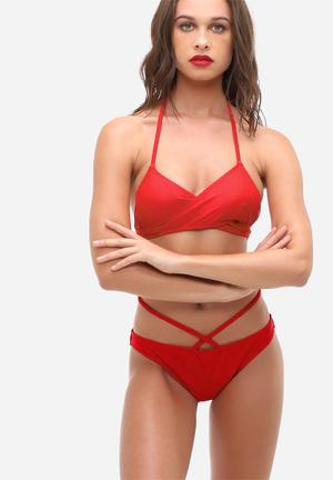 Missguided Cross Front Bikini Set Swimwear Red