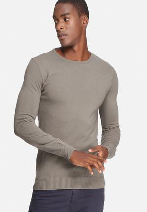 Basicthread Basic Crew Neck Pullover Knitwear Brown