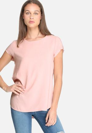 Dailyfriday Short Sleeve Woven Top Blouses Pink