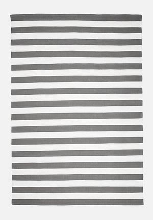 Sixth Floor Grey Broad Stripe Rugs & Mats Handwoven Cotton Dhurrie