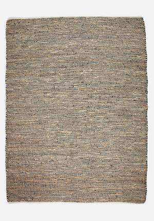 Sixth Floor Hemp & Leather Rug Handwoven Cotton Dhurrie, Hemp & Leather