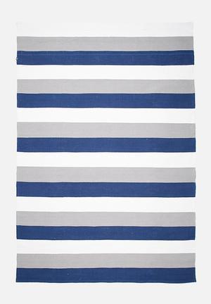 Sixth Floor Broad Stripe Rug Handwoven Cotton Dhurrie