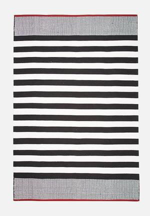 Sixth Floor Narrow Stripe Rug  Handwoven Cotton Dhurrie