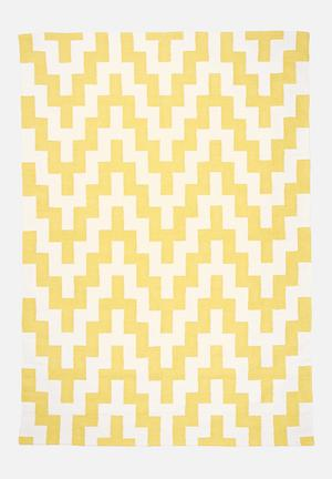 Sixth Floor Yellow Step Rug Handwoven Cotton Dhurrie
